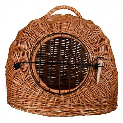 Wicker Basket For Cats Kitten Carrier Cave Den Snuggle Hide Handle Pet Dog Brown • 44.56£