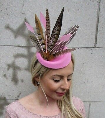 Light Pink Pheasant Feather Pillbox Hat Fascinator Races Hair Clip Ascot 5476 • 18.95£