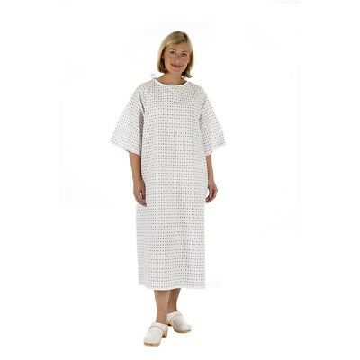 Unisex NHS Wrap Over White Hospital Patient Gown, Reusable Night Dress UK Stock • 5.95£