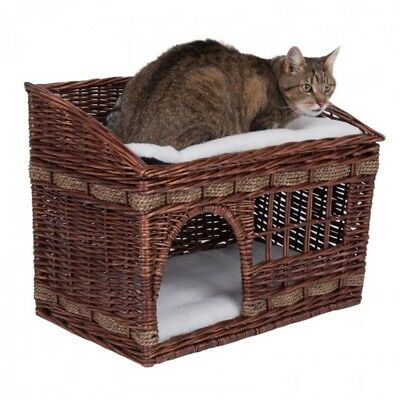 Wicker Cat Baskets Brown Pillow House Kitten Carrier Beds 2 Tier Floors Cushion • 49.12£