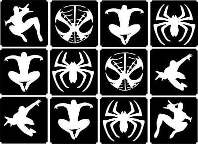 £1.99 • Buy 12x Spider Man Top Up Glitter Tattoo Kit Face Painting Airbrush (reusable)