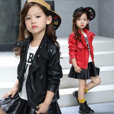 Kids Leather Jackets Motorcycle Jacket Cool Baby Girls Sport Biker Coats • 12.99£