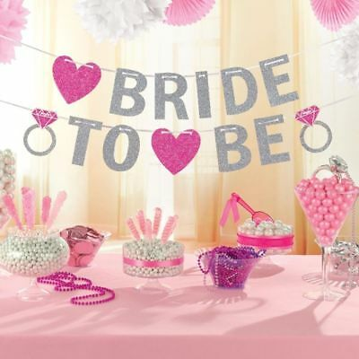 BRIDE TO BE Glitter Banner Hen Party Bridal Shower Decoration SILVER & ROSE GOLD • 2.99£