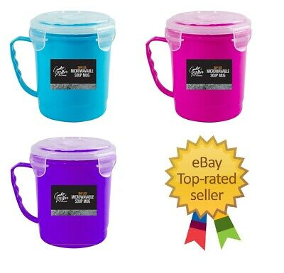 Microwave Soup Mug 750ml Cup Hot Drink Stew Clip Lock Airtight Container Pot NEW • 4.39£
