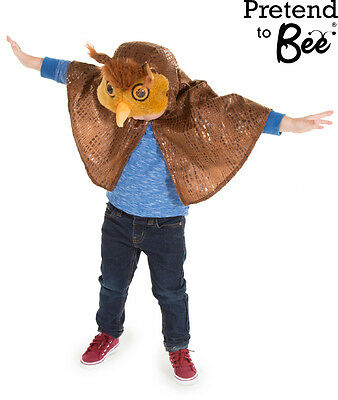 Kids Childrens Childs Brown Owl Bird Book Day Cape Costume Outfit Age 3-4-5-6 • 12.50£
