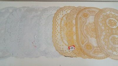Lace Effect Pvc Placemat Home Christmas Dinning Decor Table Mat Gold Silver Oval • 2.15£