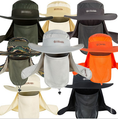 $11.90 • Buy Hot Hiking Fishing Hat Outdoor Sport Sun Protection Neck Face Flap Cap Wide Brim