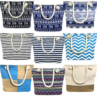 Ladies Womens Large Print Pattern Shoulder Canvas Tote Holiday Beach Bag • 5.99£