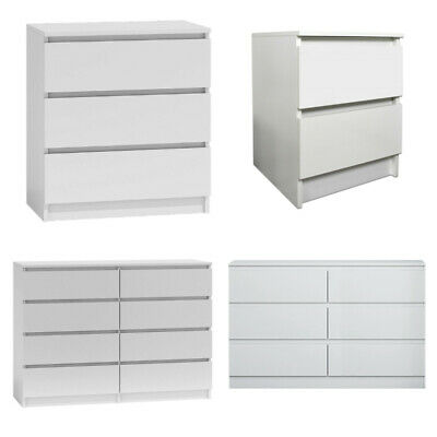Matt White Modern Chest Of Drawers 2/3/6/8 Drawer Tall Wide Chests & Bedsides. • 119.95£