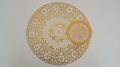 GOLD LACE Effect EMBOSSED PVC Round CIRCULAR Placemat Coaster Set TABLE CUP MAT • 2.95£