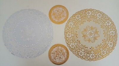 GOLD SILVER LACE Effect EMBOSSED PVC Round Placemat Coaster DINNER TABLE CUP MAT • 3.95£