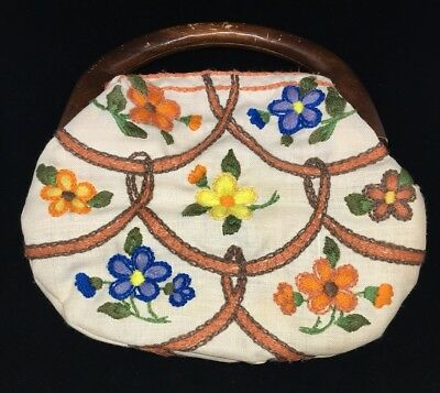 $20 • Buy Vintage Bermuda Bag Wooden Handle W/ Cover Handmade Embroidered Interchangeable