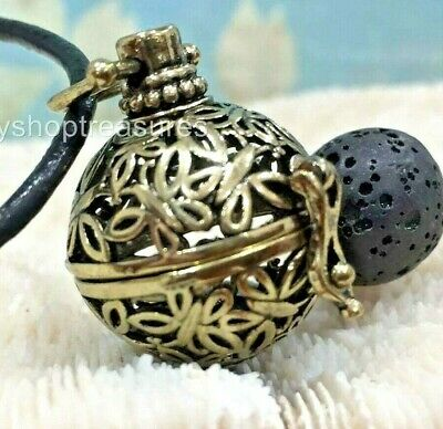 AU13.95 • Buy Butterfly Aromatherapy Diffuser Necklace Essential Oil Black Lava - Vintage Gold