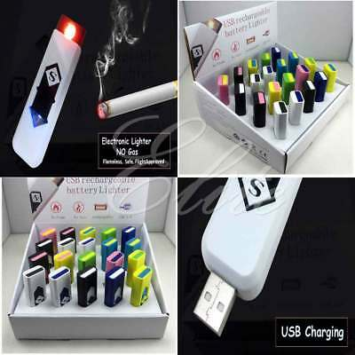 New Slim Usb Lighter Rechargeable Cigar Cigarette Flame Less Electronic Lighter • 3.15£