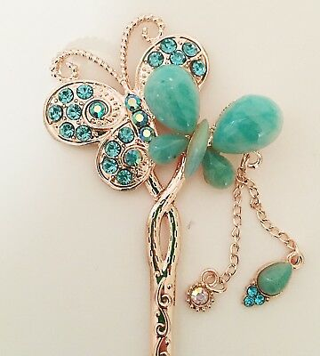 $14.99 • Buy Butterfly Design Hair Stick In Gold Tone With Imitation Jade And Rhinestones