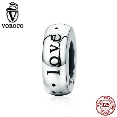 £4.13 • Buy VOROCO 925 Silver Silicon Stopper Beads Engrave With Love Fit For Charm Bracelet