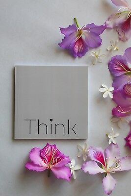 Square Grey Notebook With  THINK  Typography, Inspiration Sketchbook,  • 10.13£