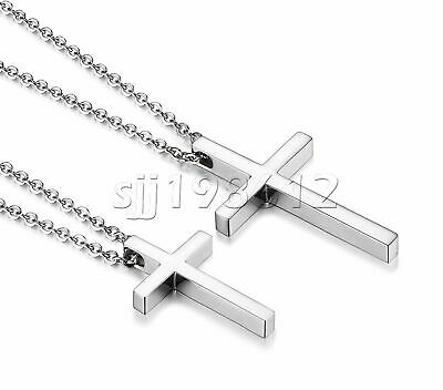 $7.99 • Buy Simple Stainless Steel Silver Cross Pendant Necklace For Men Women Chain 20