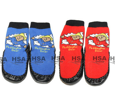 NEW! Baby/Toddler/Boys Slipper Socks,Paddington Bear,Red/Blue,0-36 Months,Gift • 3.49£