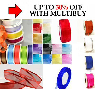 FULL 46 MTR ROLL OF ORGANZA RIBBON 3MM,10,12,15,20mm OR 25 MTRS SATIN EDGE • 2.69£