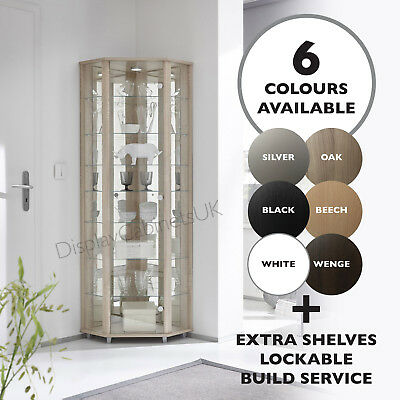 £269 • Buy HOME Corner Glass Cabinet Unit Display - 6 Colours - In Stock