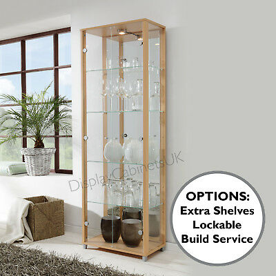 HOME Double Beech Glass Display Cabinet Glass Shelves Mirror Back Lock • 288£
