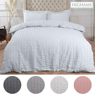 View Details Highams Seersucker Duvet Cover With Pillowcase Bedding Set Silver White Charcoal • 12.50£