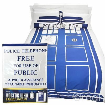 £12.99 • Buy New Doctor Who King Size TARDIS Duvet Cover & Pillowcase Bed Set Quilt Official