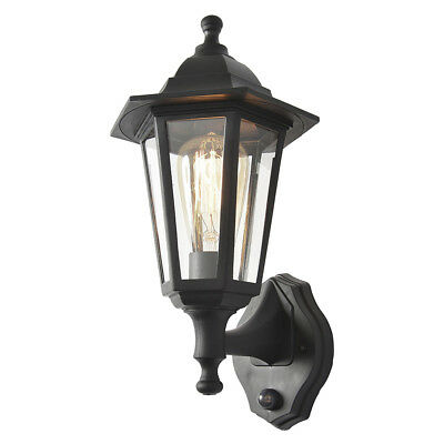 1 Light Wall Lantern Traditional Outdoor Light W/ PIR Sensor In Black Litecraft • 24£