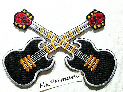 £1.85 • Buy Embroidered Double Guitar Electric Music Iron/sew On Patch Badge Biker Punk Rock