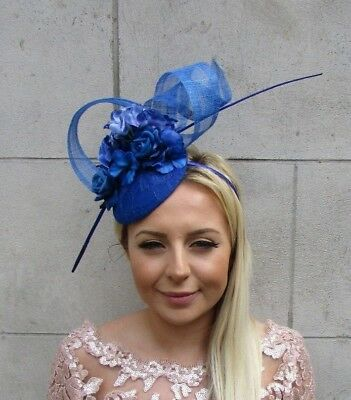 Royal Blue Rose Flower Feather Pillbox Hat Hair Fascinator Races Wedding 5712 • 31.95£