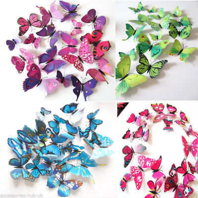 £2.90 • Buy 12 Pcs 3D Butterfly Wall Stickers Colorful Art Decal Room Decorations Decor DIY