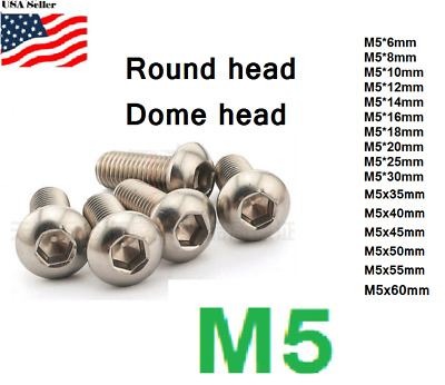 $6.20 • Buy M5x0.8 5mm Metric 6-80mm Stainless Steel Button Head Hex Bolt Dome  Allen Screw