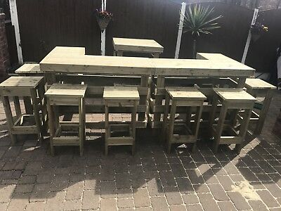 Large Outside Garden Bar With 8 Stools And An Island For A Fridge • 999£