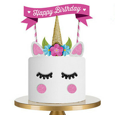 AU7.95 • Buy UNICORN CAKE TOPPER Decoration Bunting Flag DIY Birthday Party Pink EASY TO USE