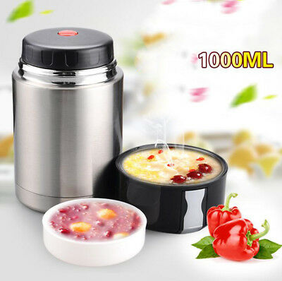 AU40.75 • Buy 1L Vacuum Insulated Lunch Box Stainless Steel Jar Hot Thermos Food Container