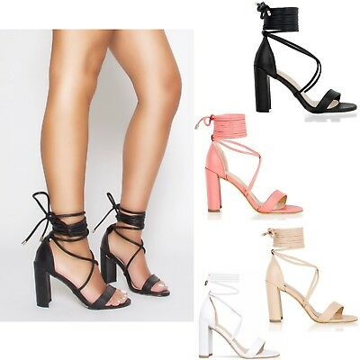 £14.99 • Buy Womens Ladies Block High Heel Sandals Ankle Lace Tie Up Strappy Party Shoes Size