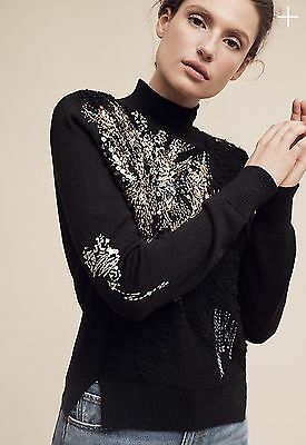 $ CDN90 • Buy Nwt Anthropologie Beaded Fete Turtleneck Black Sequin Sweater Top!!! So Pretty!!