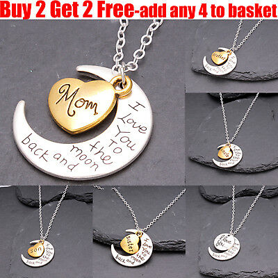 I Love You To The Moon & Back Family Heart Silver Necklace Pendant For Women Men • 1.39£