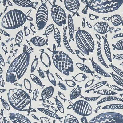 Clarke And Clarke Trawler Navy Cotton PVC WIPE CLEAN Tablecloth Oilcloth • 6.99£