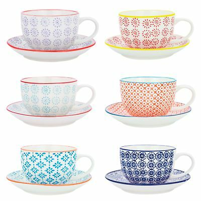 £22.49 • Buy Cappuccino Cups And Saucers Set Coffee Tea Porcelain 250ml - 3 Patterns - X12