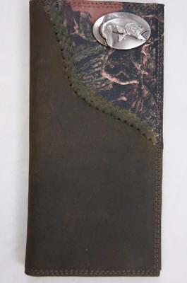 $39 • Buy ZEP-PRO Largemouth Bass Fish Leather Fence Row Roper Camo WALLET ONLY NO BOX