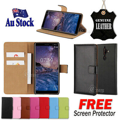 AU12.99 • Buy For Nokia 2.1 3.1 6.1 X6 7 Plus Genuine Original Leather Wallet Flip Case Cover