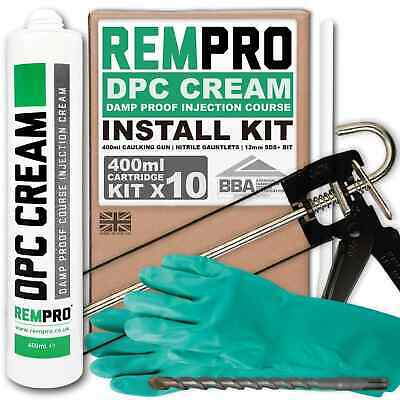 £72.99 • Buy Rempro 10 X 400ml DPC Damp Proofing Injection Cream & Install Kit BBA Certified