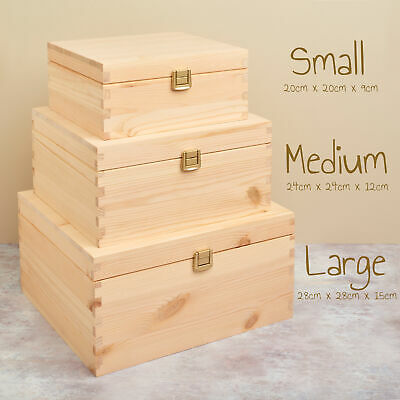 Solid Wooden Pine Storage Gift Chest Box / Nest - Multiple Sizes Available • 14£
