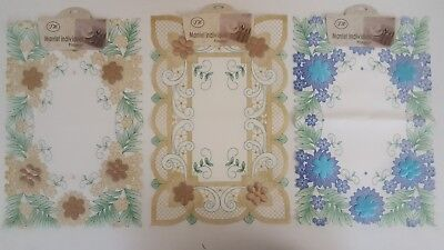 2 Rectangle Embossed Lace Fabric Placemats Washable Table Mats  Floral Dinning • 2.90£
