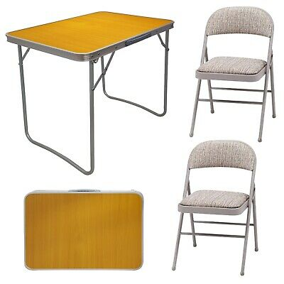 Steel Metal Frame Fabric Padded Folding Back Rest Portable Chair & Wooden Table • 162.99£