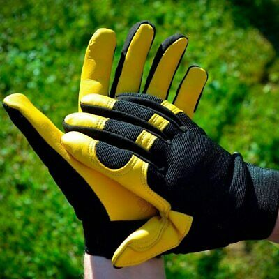 £9.90 • Buy Leather Work Gloves With Reinforced Palm Safety Hands Protective Gloves Unisex