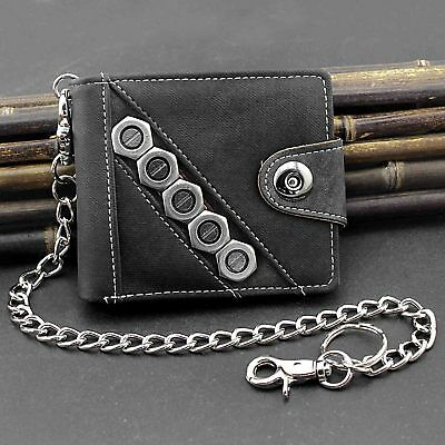 Biker Cowboy Mens Casual Snap Jeans Wallet With Anti Lose Pants Chain • 13.84£