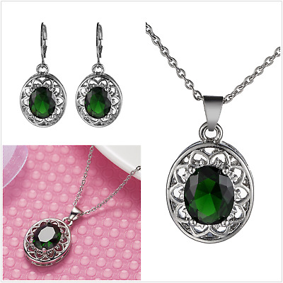 £10.50 • Buy UK Sterling Silver Jewellery Set Made With Swarovski Gift Boxed